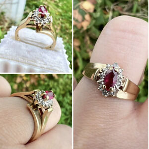 vintage solid 10k yellow gold genuine ruby/diamond ring