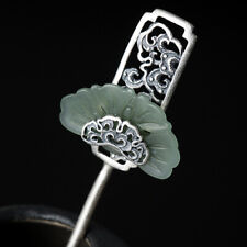 pure 925 silver handmade Chinese Women Hairpin hetian jade Hair  Accessories
