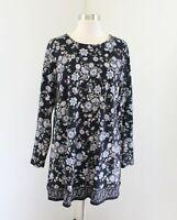 J Jill Black Floral Print Tunic Blouse Top Size M Lace Up Accent Blue