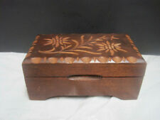 OLD Swiss music box, carved wood, plays Le Vieux Chalet