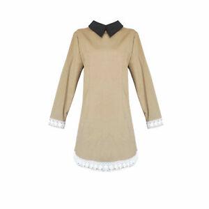 Women's Shirt Dress A-Line Long Sleeve Zip Dresses Stand-up Collar Slim Warm