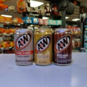 A&W Root Beer & Cream Soda 12oz (355ml) X 3 cans. USA Import