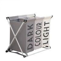 Aluminium Folding Laundry Hamper Basket triple Section Light & Dark colour large