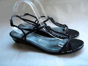 Stuart Weitzman Black Patent Jeweled Slingback Low Wedge Sandals Size 11 M