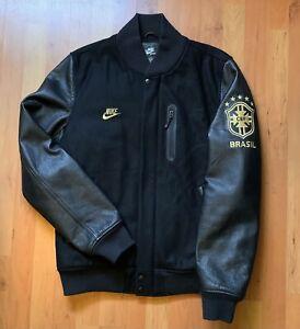 Men's Nike Tech Destroyer Brazil CBF Black Gold Pack Varsity Jacket Sz M Leather