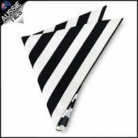 Mens Black & White Striped Pocket Square Handkerchief Hanky