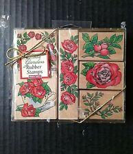 Hero Arts Rubber Stamp Set Rose Garden Flowers Floral 6 Ct Vintage