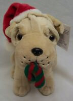 "Kellytoy CHRISTMAS PUPPY DOG W/ SANTA HAT 8"" Plush Stuffed Animal NEW Tan Lab"