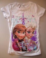 NWT Disneys Frozen Elsa Anna short sleeve white Shirt  M-7/8