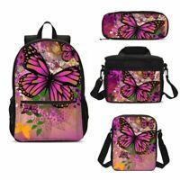 Pink Butterfly Print School Kids Backpack Lunch Bags Sling Bag Pen Case Gift Lot