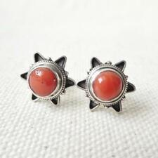 Bali 925 Sterling Silver Natural Red Coral Cabochon Starburst Stud Post Earrings