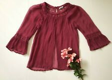 Kimchi Blue Fuschia Boho Lace Sheer Bell Sleeve Open Back Blouse Size S-M