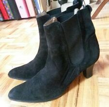Michael Kors black sude or faux suede pull on ankle boots booties heels 9.5