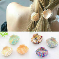 1X Sea Shell Hair Clips Acetate Resin Floral Print Hair Claw Women Girls Hairpin