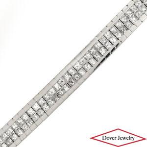 Estate 3.00ct Princess Diamond 14K Gold Polished Box Link Bracelet 40.0 Grams NR