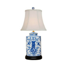 Blue and White Floral Motif Porcelain Tea Caddy Black Stand Table Lamp 21""