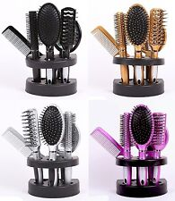 5 Pcs Women Hair Brush Massage Comb Holder Set With Mirror & Stand - UK Seller