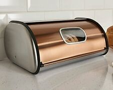 Copper & Stainless Steel Bread Box Roll Top 2 Loaf Capacity  Bread Box W Window