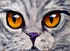 Original ACEO Impressionism Acrylic 2.5x3.5 in. British Shorthair Cat painting