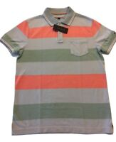 Tommy Hilfiger Custom Fit Mens Short Sleeve Striped POLO Shirt w/pocket