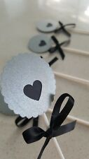 12pk silver metallic and black heart cupcake toppers