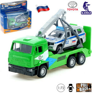 1:72 Scale Diecast Metal Model Tow Truck KamAZ with Police Toyota Land Cruiser