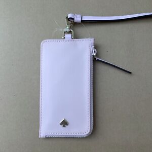 New Kate Spade Jae ID Badge Holder Card Case Nylon Lanyard Serendipity Pink
