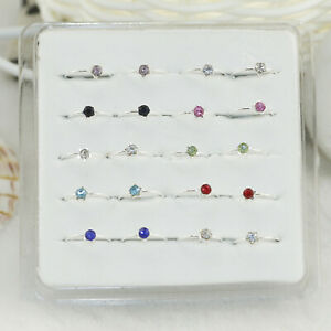 20PCS Sterling Silver Classic Zircon Tragus Ear Hoop Nose Ring Jewellery