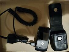 Motorola Razr V3 Black Flip Razor Cell Phone with charger and leather case
