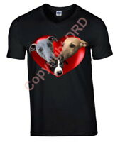 Whippets in a Heart Tshirt, T-shirt Crew Neck V Neck Birthday Gift