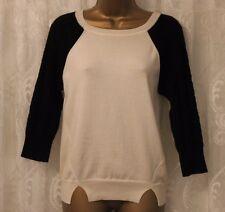 Karen Millen Textured Chunky Contrast Sleeve Knit Wool Jumper Top Sweater 1 8 36