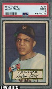 """1952 Topps #261 Willie Mays New York Giants HOF PSA 2 Good """" LOOKS NICER """""""