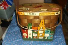 """Beautiful Vintage Lined Basket Made for Andrade in Hawaii by Caro-Nan 9 1/4"""" h"""