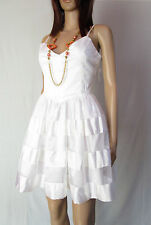 GINA TRICOT Womens White Party Evening Cocktail Skater Cotton Dress sz 12 M AO4