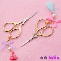 Gold Plated Nail Scissor Bead Tassel Pendant Cuticle Cutter Manicure Nail Art