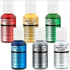 Food Coloring Cake Supply 6 Metallic Color Set Use On Cakes Fondant Pastry Chef