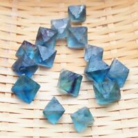 Natural Clear Blue Fluorite Crystal Point Octahedron Rough Specimens Lot New