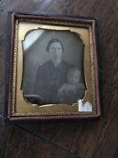 Daguerreotype Frame Photo Boy Baby Woman Mother Metal