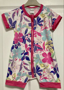 BONDS Wondersuit 12-18 Months Size 1 Baby Girl Zip Up Romper Pink Floral