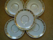 "LOVELY USED SET OF 5 X WEDGWOOD WHITEHALL GOLD 6"" SAUCERS for Soup Cups Bowls"