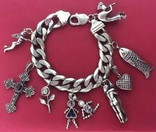 "VINTAGE 925 STERLING SILVER  MEXICO LINK CHARM BRACELET 91GRAMS 7""LONG..."