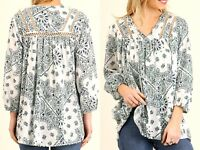 Umgee Top Size XL S M L White Lace 3/4 Sleeve Tunic Boutique Womens Shirt New