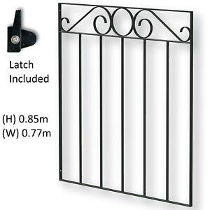 Black Wrought Iron Pedestrian Garden Gate 770mm (W) X 850mm (H) Swirl Top