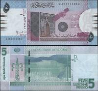 Sudan 5 Sudanese Pounds. UNZ 2011 Banknote Kat# P.72a