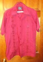 HABAND GUAYABERA CABANA SHIRT Large 80s True Vintage Red Embroidered Front