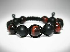 MEN'S Matte Black Onyx Red Tiger Eye Shamballa Yoga Mala Beaded Jewelry Bracelet