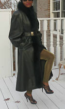 Full length  Green Black leather & black fox Fur Coat jacket  Stroller S-M 2-10