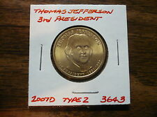 Thomas Jefferson 2007D Gold Dollar Type 2 Clad Coin 3rd President Denver 364