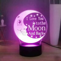 Moon & Back Illusion LED Lamp, 3D Light Experience - 7 Colors Options