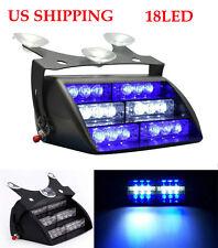18 LED Blue White Auto Car Dash Windshield Emergency Warning Strobe Flash Light